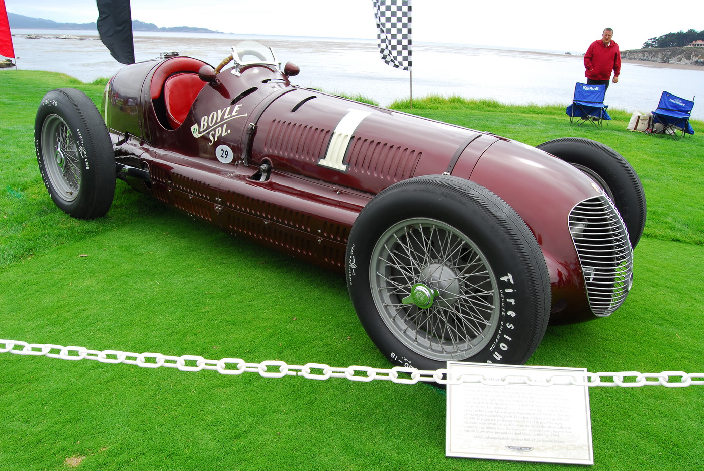 1938 Maserati 8CTF Boyle Valve Special Indy Car front exterior view