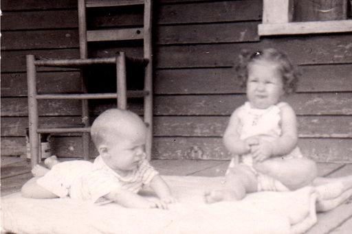 "5-Dennis Wayne Austin and Gaile Dean Austin at ""Granny's"" house about 1954"