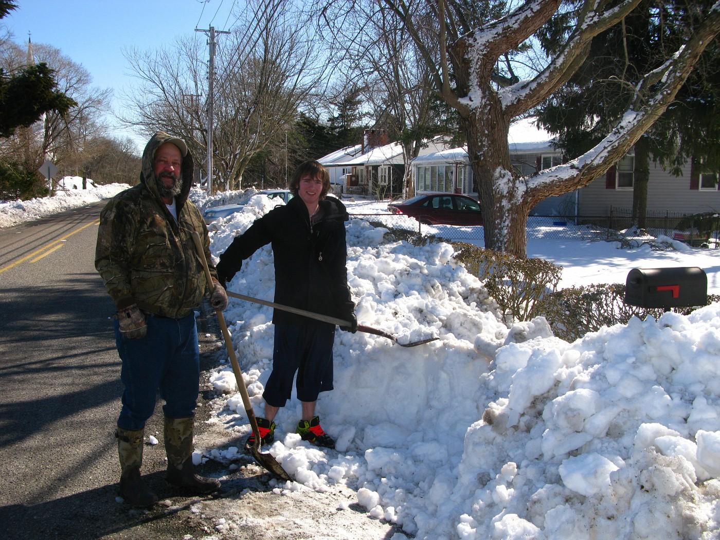 The next mailbox to digout / Donna's next door.  Joe and Dylan.