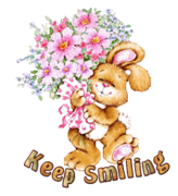 Keep Smiling - BunnyWithFlowers
