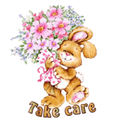Take care - BunnyWithFlowers