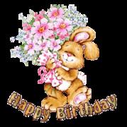 Happy Birthday - BunnyWithFlowers
