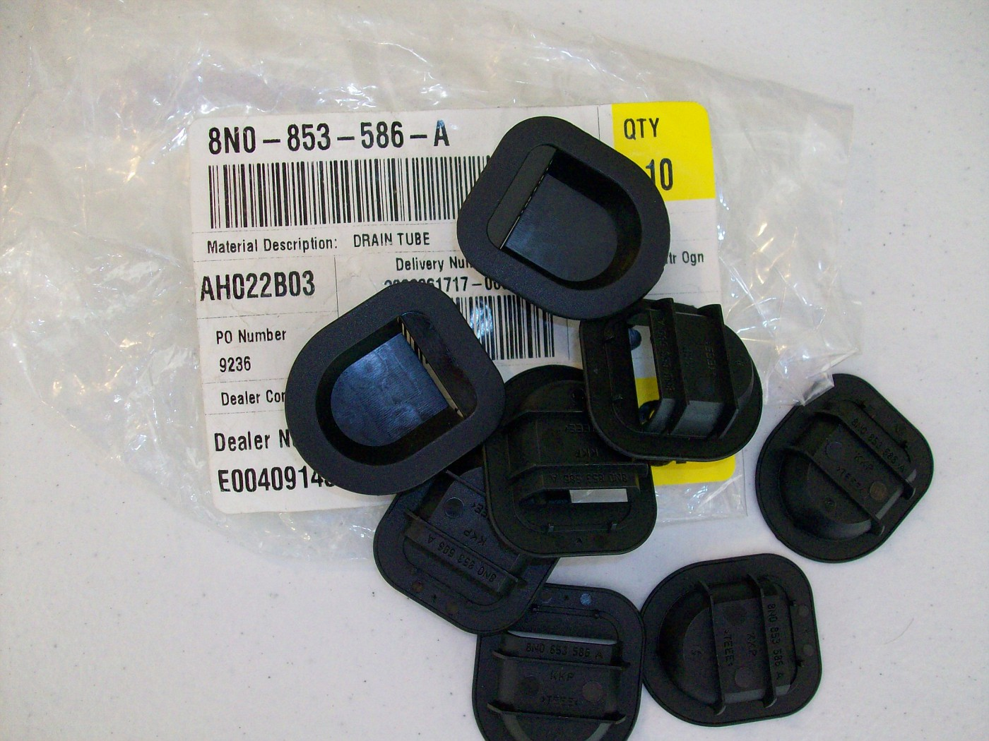 SOLD $10 Plastic Covers for drain holes for under car - Part # 8N0853586A - Qty. 8