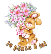 Je pense a toi - BunnyWithFlowers