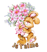 Je t'aime - BunnyWithFlowers