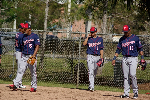 IMGP9825.JPG-36 is Wilfredo Tovar, 5 is Eduardo Escobar, 1 is Engelb Vielma, 11 is Jorge Polanco