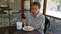 Jean, having Coffee & Cake.