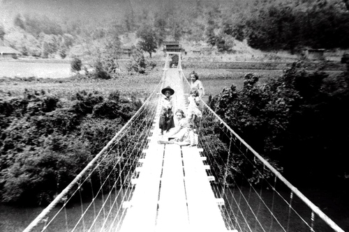 Swinging Bridge at Norma, early 1920's - NOT the one located later at Montgomery.