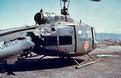 A shot up Medivac chopper at DAK TO, 1969.