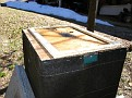 Spacer installed...  Initially made for an 8 frame hive but good enough to get the job done here.