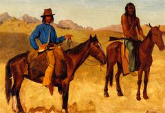 Trapper and Indian Guide on Horseback [undated]