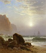 Rocky Coastal Scene with a View of Passing Ships [undated]