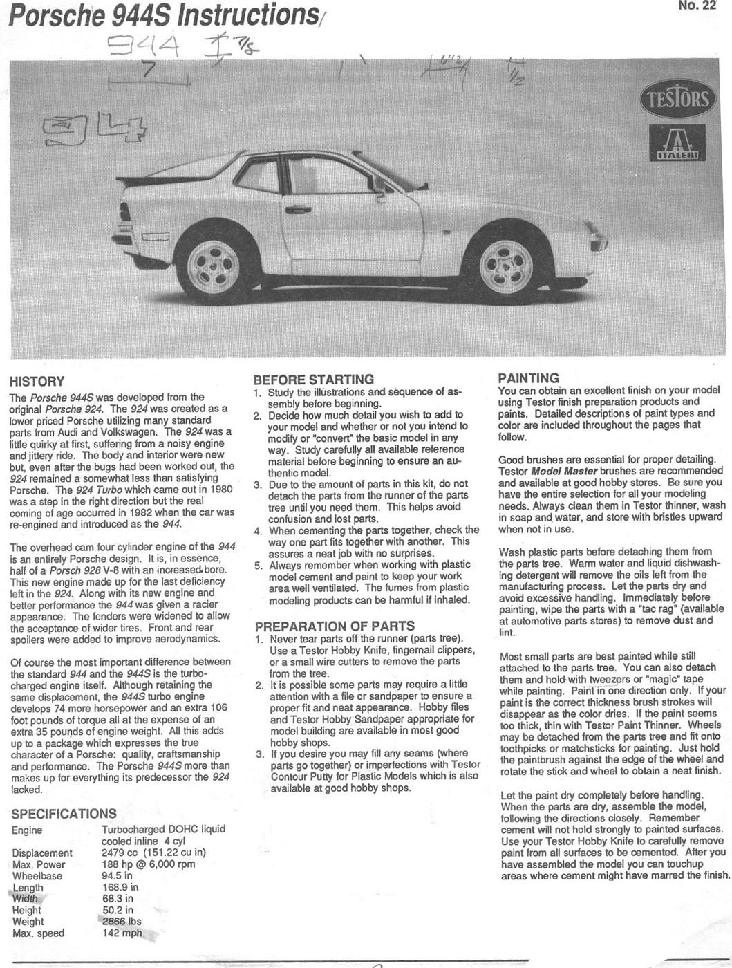 Testors-Italeri Porsche 944S0001