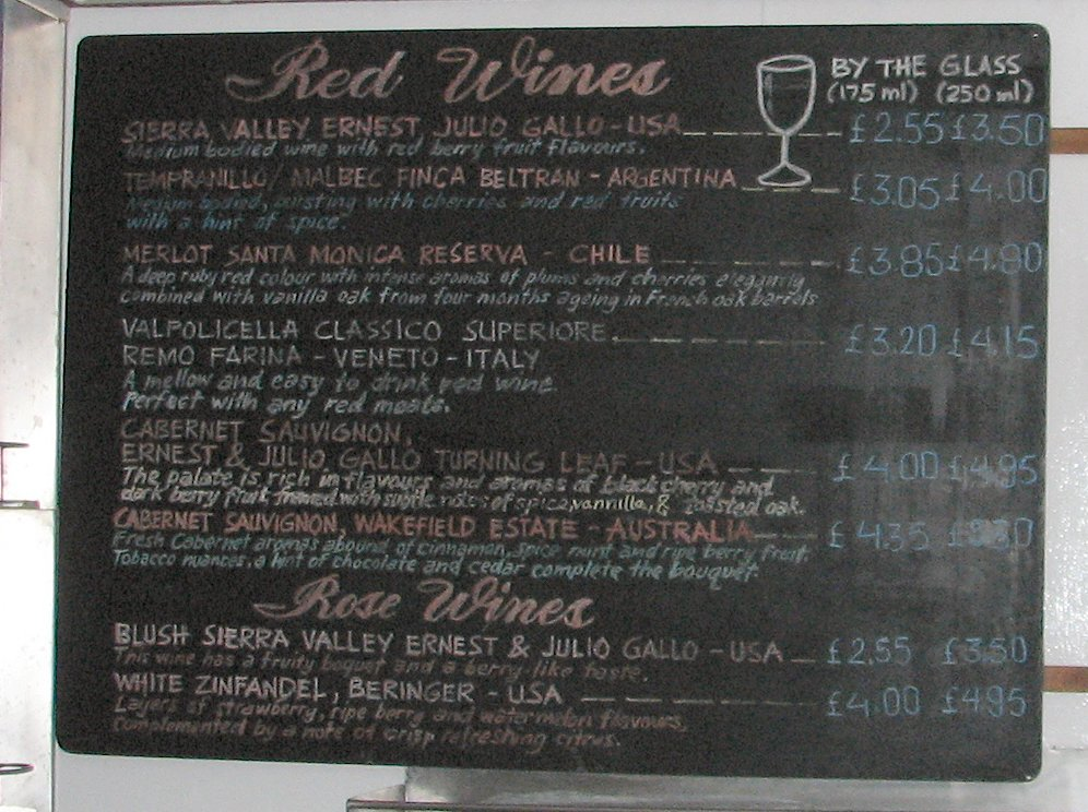 Terrace Bar Red Wines