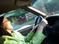Me driving our good ol' green Jimmy
